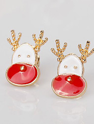 cheap -Women's Stud Earrings 3D Deer Precious Fashion Gold Plated Earrings Jewelry White For Christmas Party Gift Festival 1 Pair