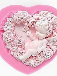 abordables -rose ange silicone moule 3d artisanat art bricolage fimo bougie fondant savon main moule