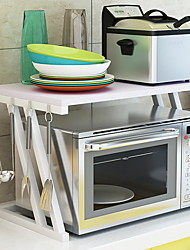 Недорогие -Микроволновая полка, микроволновая подставка, кухонная стойка, органайзер полки, пикантная полка, тостер, органайзер, микроволновая печь, 2 яруса с крючками
