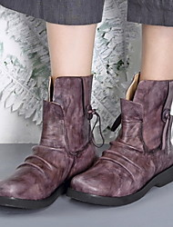 cheap -Women's Boots Comfort Shoes Flat Heel Round Toe Leather Booties / Ankle Boots Fall & Winter Purple