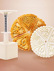 cheap -6Pcs Fan Shape Flower Moon Cake Flower Mooncake Mold Hand Pressure Mould DIY Tool Cookie Cutter Cake Bakeware 1 Barrel 5 Stamps Set