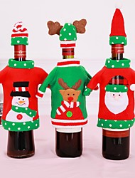 cheap -2pcs / Set Christmas Decorations Wine Bottle Sweater Santa Claus Bag Knitted Hats For New Year Christmas Party Decoration