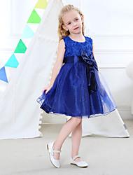 cheap -Toddler Girls' Sweet Cute Solid Colored Bow Drawstring Sleeveless Knee-length Dress Light Blue