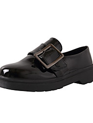 cheap -Women's Loafers & Slip-Ons Chunky Heel Round Toe Buckle PU Casual Fall Black / Party & Evening
