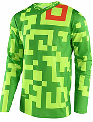 cheap -21Grams Men's Long Sleeve Cycling Jersey Dirt Bike Jersey Winter Fleece 100% Polyester Green Black / White Bike Jersey Pants Top Mountain Bike MTB Road Bike Cycling UV Resistant Breathable Quick Dry