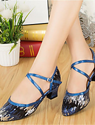 cheap -Women's Modern Shoes / Ballroom Shoes Synthetics T-Strap Heel Glitter Thick Heel Customizable Dance Shoes Blue / Performance