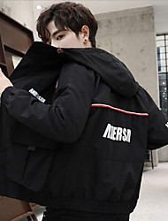 cheap -Men's Daily / Beach Fall / Winter Regular Jacket, Color Block Hooded Long Sleeve Polyester Black / Yellow / Red