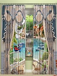 abordables -ville de venise en dehors du balcon impression numérique 3d rideau rideau d'ombrage haute précision noir tissu de soie rideau de haute qualité