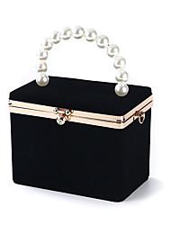 abordables -Femme Détail Cristal / Détail Perle Polyester / Alliage Pochette Couleur unie Noir / Vin / Bleu