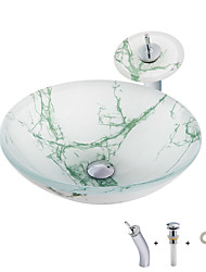 cheap -Bathroom Sink / Bathroom Faucet / Bathroom Mounting Ring Contemporary - Tempered Glass Round Vessel Sink