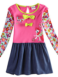 cheap -Kids Girls' Active Horse Cartoon Print Long Sleeve Above Knee Dress Fuchsia / Cotton