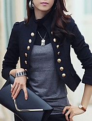 cheap -Women's Blazer, Solid Colored Stand Polyester Black / White