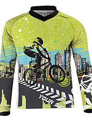 cheap -21Grams Men's Long Sleeve Cycling Jersey Dirt Bike Jersey Winter Fleece 100% Polyester Green / Black Bike Jersey Motorcyle Clothing Top Mountain Bike MTB Road Bike Cycling UV Resistant Breathable