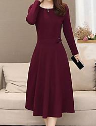 cheap -Women's Plus Size Wine Green Dress Sheath Solid Colored L XL
