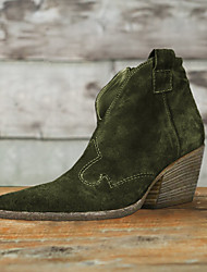 cheap -Women's Boots Chunky Heel Pointed Toe Buckle Suede Booties / Ankle Boots Vintage / Casual Spring &  Fall / Fall & Winter Black / Green / Burgundy