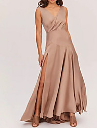 cheap -A-Line V Neck Sweep / Brush Train Polyester Bridesmaid Dress with Pleats / Split Front / Open Back