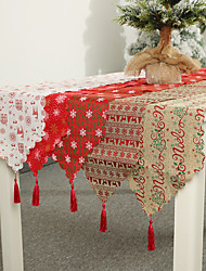 cheap -Linen Christmas Decoration With Table Flag Printed Table Runner With Tassel Tablecloth Hotel