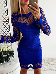 cheap -Women's Royal Blue Dress Basic Bodycon Solid Colored S M Slim / Lace