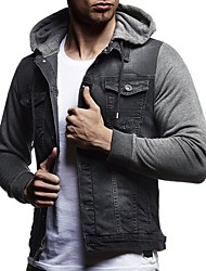 cheap -Men's Daily Regular Denim Jacket, Solid Colored Hooded Long Sleeve Polyester Black / Blue / Dark Gray