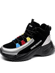 cheap -Women's Athletic Shoes Creepers Round Toe Leather Sporty / Casual Running Shoes / Walking Shoes Winter Black / Silver / Black / White / Black / Red