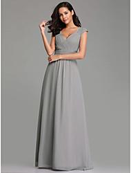 cheap -Women's Wedding Formal Evening A Line Dress - Solid Colored Gray M L XL XXL
