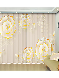 cheap -Phnom Penh White Flower Digital Printing 3D Curtain with Chinese Stereo Flower Patterns Shade Curtain High Precision Black Silk Fabric High Quality First-class Shade Bedroom Curtain