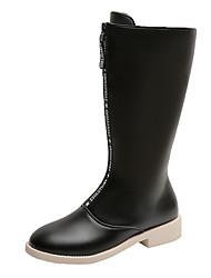 cheap -Women's Boots Rain Boots Chunky Heel Round Toe PU Winter Black / White