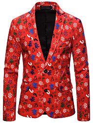 cheap -Men's Blazer, Color Block Shirt Collar Polyester Red
