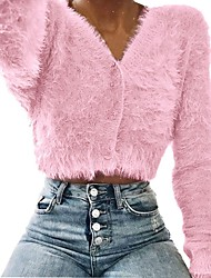 cheap -Women's Solid Colored Long Sleeve Cardigan Sweater Jumper, V Wire Fall / Winter Light Brown / Blushing Pink / Green S / M / L