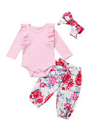 cheap -Baby Girls' Casual / Active Floral / Solid Colored Long Sleeve Long Clothing Set Blushing Pink