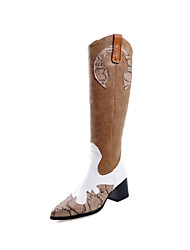 cheap -Women's Boots Knee High Boots Chunky Heel Pointed Toe Lace / PU Knee High Boots Vintage Fall & Winter Black / Light Brown / Party & Evening / Color Block