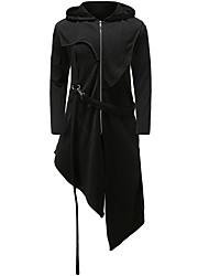 abordables -Homme Quotidien Taille EU / US Longue Trench, Couleur Pleine Capuche Manches Longues Polyester Noir