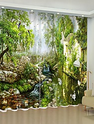 cheap -Oil Painting Style Jungle Town Digital Printing 3D Curtain Shading Curtain High Precision Black Silk Fabric High Quality Curtain