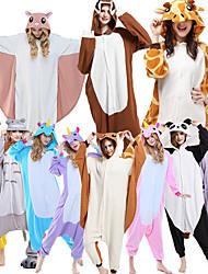cheap -Adults' Kigurumi Pajamas Giraffe Animal Onesie Pajamas Polar Fleece Maroon / Purple / Dusty Rose Cosplay For Men and Women Animal Sleepwear Cartoon Festival / Holiday Costumes / Leotard / Onesie