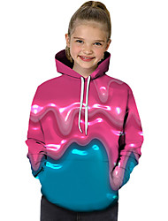 cheap -Kids Toddler Girls' Active Basic Rubik's Cube Geometric Print Color Block Print Long Sleeve Hoodie & Sweatshirt Fuchsia