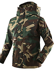 cheap -Men's Camouflage Hunting Jacket Outdoor Thermal / Warm Windproof Breathable Sweat-Wicking Autumn / Fall Winter Camo Windbreaker Softshell Jacket Top Fleece Running Camping / Hiking Hunting Hunter