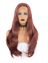 cheap -Synthetic Lace Front Wig Wavy Middle Part Lace Front Wig Long Dark Red Synthetic Hair 18-24 inch Women's Cosplay Heat Resistant Synthetic Brown / Natural Hairline / Natural Hairline