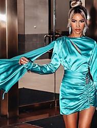 cheap -Women's Mini Light Blue Dress Sheath Solid Colored S M