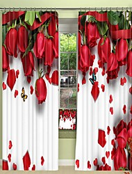 cheap -Butterfly Digital Printing On Red Rose 3D Curtain Shading Curtain High Precision Black Silk Fabric High Quality Curtain