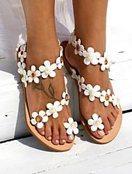 cheap -Women's Sandals Boho / Beach Flat Sandals Summer Flat Heel Peep Toe Boho Daily Beach PU White