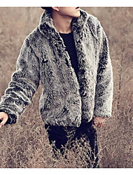 cheap -Men's Daily Vintage Fall & Winter Regular Faux Fur Coat, Solid Colored Stand Long Sleeve Faux Fur Black
