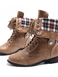 cheap -Women's Boots Low Heel Round Toe PU Booties / Ankle Boots Fall & Winter Black / Brown / Coffee
