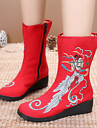 cheap -Women's Boots Wedge Heel Round Toe Satin Flower Canvas Mid-Calf Boots Vintage / Chinoiserie Spring &  Fall / Fall & Winter Black / Red