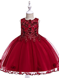cheap -Kids Toddler Girls' Active Cute Floral Jacquard Christmas Lace Bow Layered Sleeveless Knee-length Dress Wine