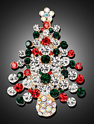 cheap -Women's Brooches 3D Christmas Tree Fashion Gold Plated Brooch Jewelry Rainbow For Christmas Party Festival