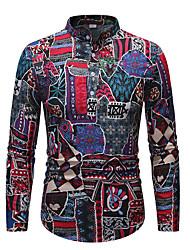 cheap -Men's Plus Size Tribal Dusty Blue Print Shirt - Linen Vintage Daily Rainbow / Long Sleeve