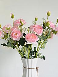 Недорогие -моделирование цветок 3 головы демон джи камелия поддельные цветок украшения дома