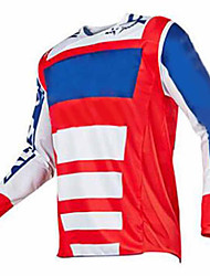 cheap -21Grams Men's Long Sleeve Cycling Jersey Cycling Base Layer Dirt Bike Jersey Blue+Orange Blue+Yellow Red+Blue Bike Jersey Top Mountain Bike MTB Road Bike Cycling UV Resistant Breathable Quick Dry