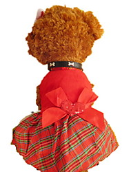 cheap -Dogs Cats Pets Dress Dog Clothes Red Costume Polyster Plaid / Check Bowknot Holiday Christmas XXS XS S M L