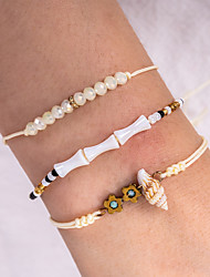 cheap -3pcs Women's Black White Bead Bracelet Vintage Bracelet Earrings / Bracelet Layered Weave Flower Shape Shell Classic Vintage Trendy Fashion Elegant Cord Bracelet Jewelry Beige For Gift Daily Holiday